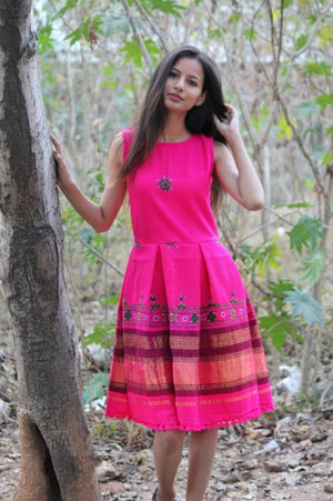 Handwoven and Hand Embroidered Fit and Flare Wool Dress in Bright Pink by Mogra Designs