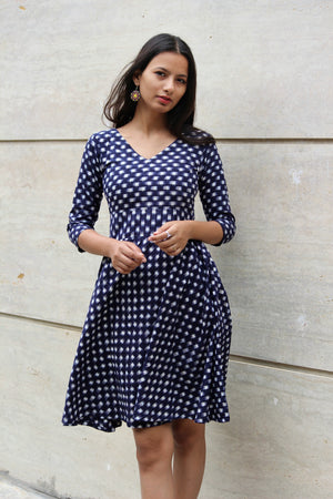 Navy Blue Ikat Fit and Flare Dress