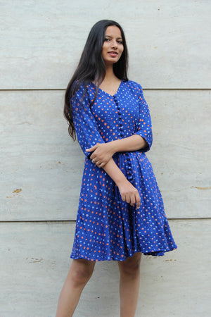 Blue Bandhani Fit & Flare Dress