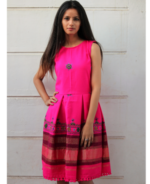 Handwoven and Hand Embroidered Fit & Flare Wool Dress in Bright Pink