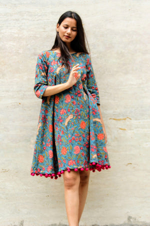 Floral Block Printed Swing Dress with Handmade Pompoms