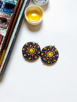 Hand Painted Dot Art Earrings By Qurcha