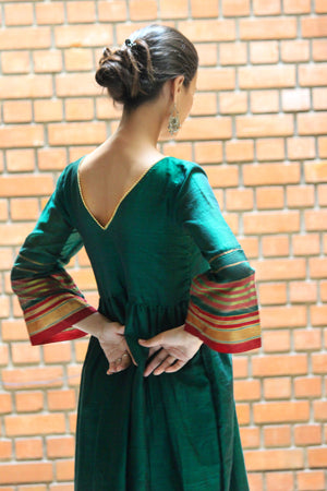 Emerald Green Saree Dress by Mogra Designs