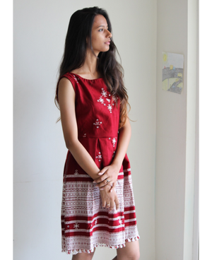 Handwoven and Hand Embroidered Fit & Flare Wool Dress in Red and White