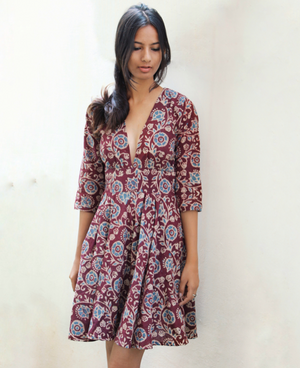 Batik V Neck Fit and Flare Dress by Mogra Designs