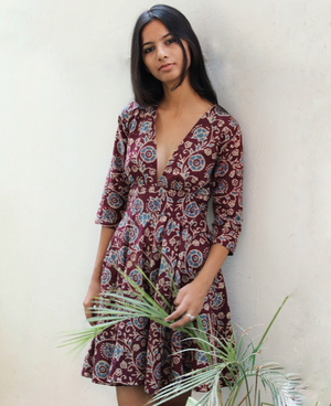 Batik Hand Block Printed V Neck Fit and Flare Dress