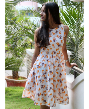 Hand Block Printed Mulmul Cotton Floral Dress by Mogra Designs