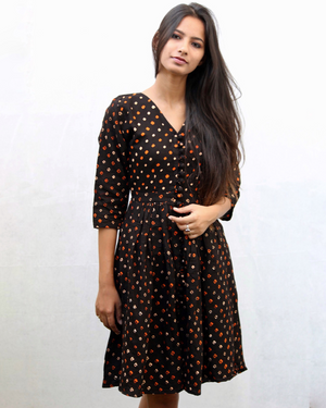 Black bandhani fit and flare dress by Mogra Designs