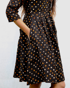 Black bandhani fit and flare dress with pockets