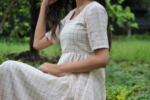 Kala Cotton Checkered Midi Dress by Mogra Designs