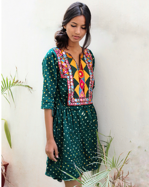 Green Bandhani Drawstring Kaftan by Mogra Designs