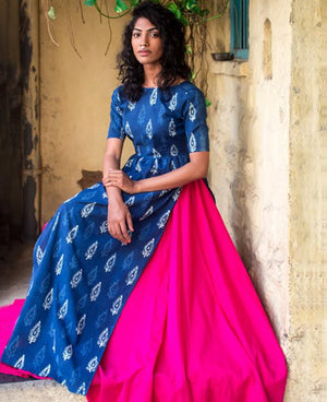 Hand Block Printed Maxi Dress and Cotton Skirt - Mogra Designs