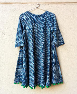 Block Printed Swing Dress with Handmade Pompoms - Mogra Designs
