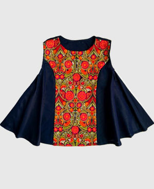 Boho Style Silk Flared Top in Midnight Blue with Embroidered Panel - Mogra Designs