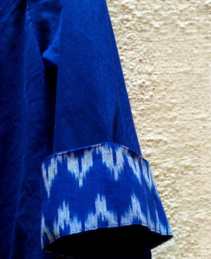 Blue Mulmul and Ikat Swing Dress - Mogra Designs