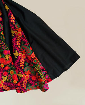 Floral Indian Embroidered Fit and Flare Dress in Black - Mogra Designs