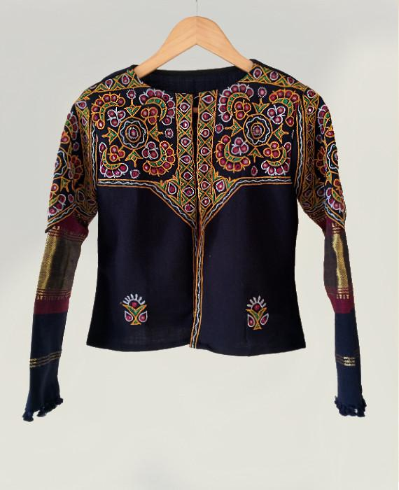 Handwoven Hand Embroidered Mirror Work Tribal Cropped Jacket In