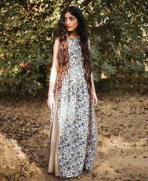 Ajrakh Hand Block Printed Maxi Dress and Skirt - Mogra Designs