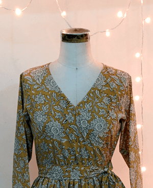 Floral Hand Block Printed Wrap Dress - Mogra Designs