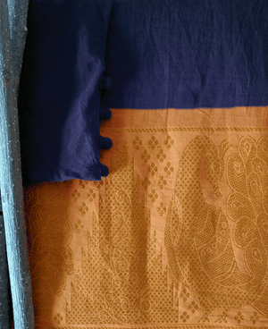 Blue and Yellow Fit & Flare Madurai Saree Dress - Mogra Designs