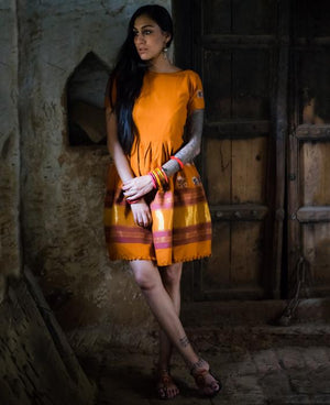 Handwoven and Hand Embroidered Light Wool Kutch Dress - Mogra Designs