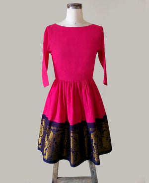 Pink & Navy Blue Fit and Flare Madurai Saree Dress - Mogra Designs