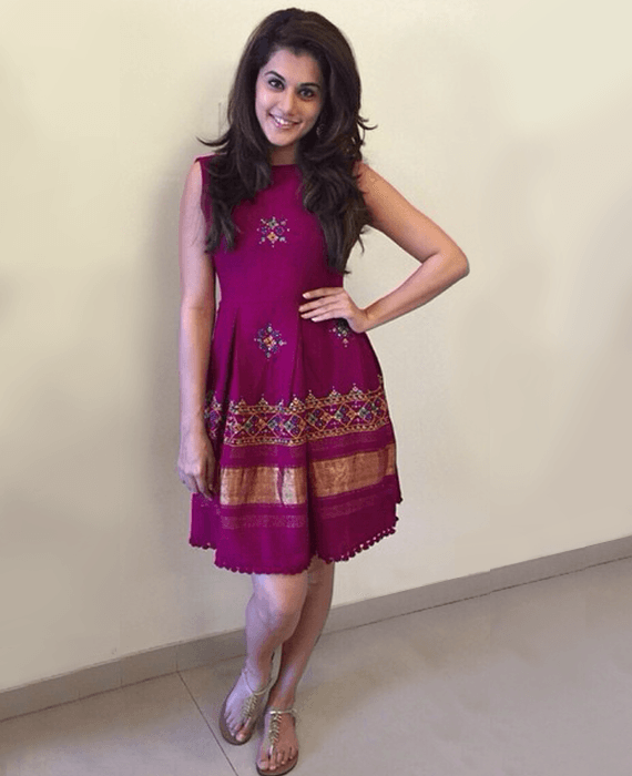 a7fbab513a Handwoven and Hand Embroidered Fit & Flare Wool Dress in Pink - Mogra  Designs