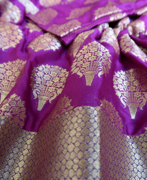 Purple & Gold Banarasi Silk Drawstring Kaftan (Medium) - Mogra Designs