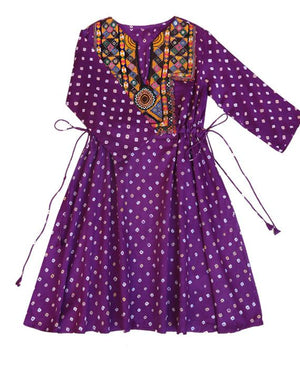 Handcrafted Vintage Mirror Work Drawstring Kaftan in Purple Bandhani - Mogra Designs
