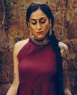 Handwoven Sleeveless Flared Saree Dress in Burgundy - Mogra Designs
