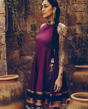 Eggplant Purple Sleeveless Flared Saree Dress - Mogra Designs
