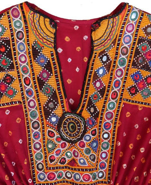 Handcrafted Vintage Mirror Work Drawstring Kaftan in Deep Red Bandhani - Mogra Designs