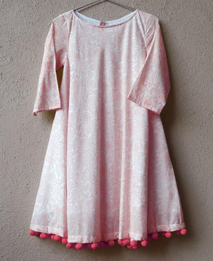 Pink Pastel Floral Block Printed Swing Dress with Handmade Pompoms - Mogra Designs