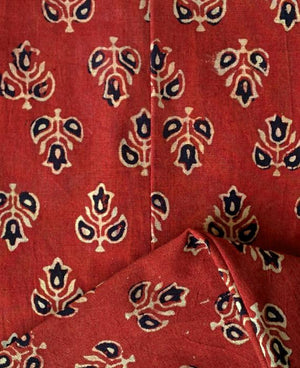Hand Block Printed Paneled Dress in Deep Red - Mogra Designs