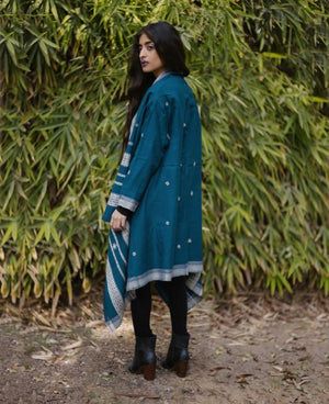 Kutch Handwoven Embroidered Tribal Jacket in Teal Blue - Mogra Designs
