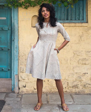 Cotton Hand Block Printed Fit & Flare Dress - Mogra Designs