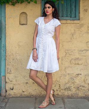White Hand Embroidered Chikankari and Mulmul Dress - Mogra Designs