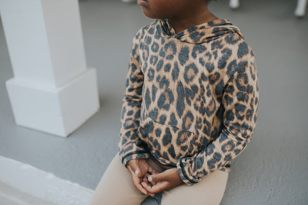 Dusty Cheetah Long Sleeve Pocket Hoodie