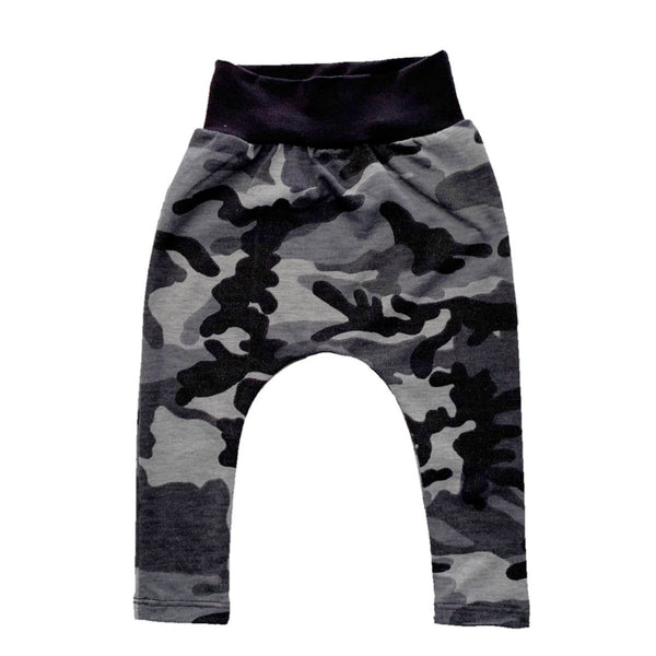 Dusty Black Camo Stretch French Terry Harem Pants