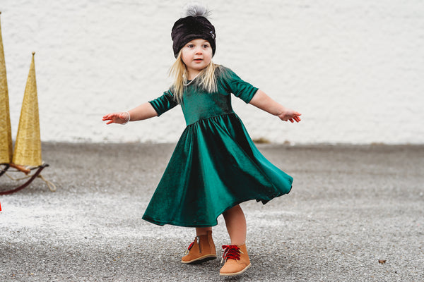 Evergreen Stretch Velvet Mid Sleeve Twirl Dress