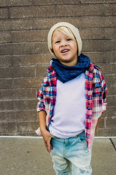 Blue Heather Sweater Knit Infant/Toddler Infinity Scarf