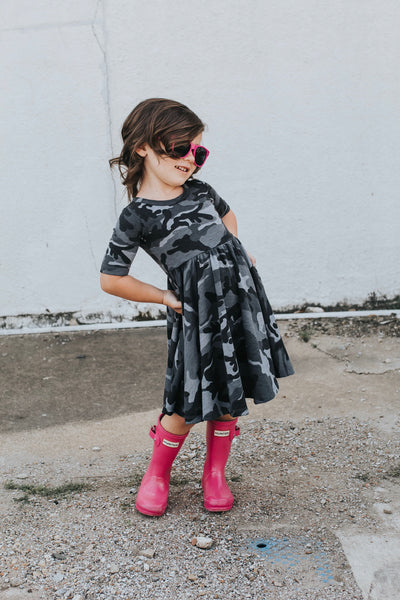 Dusty Black Camo Mid Sleeve Twirl Dress