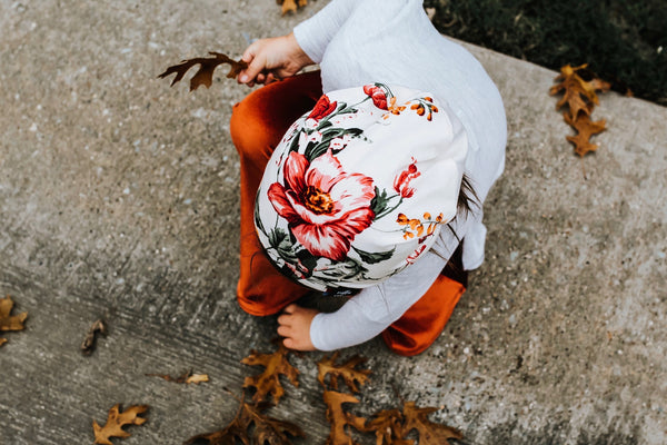Ivory Floral Beanie