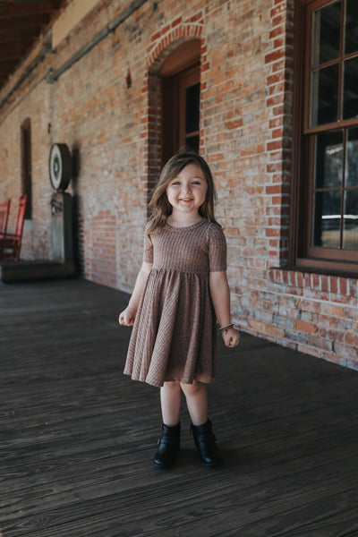 Rose Gold Shimmer Mid Sleeve Twirl Dress