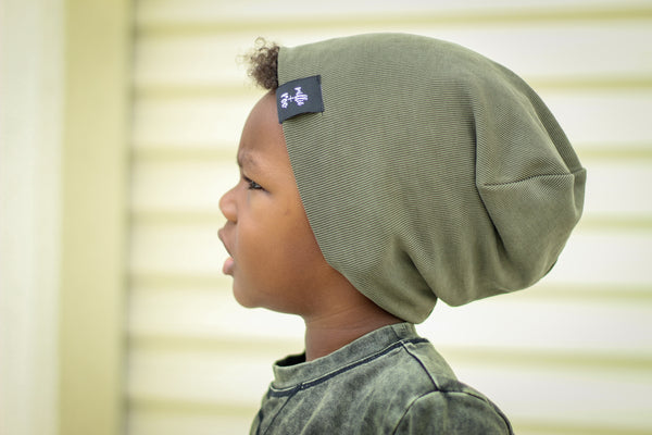 Olive Cupro Beanie