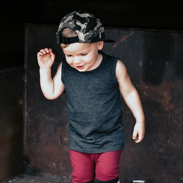 Black Cotton Slub Basic Tank
