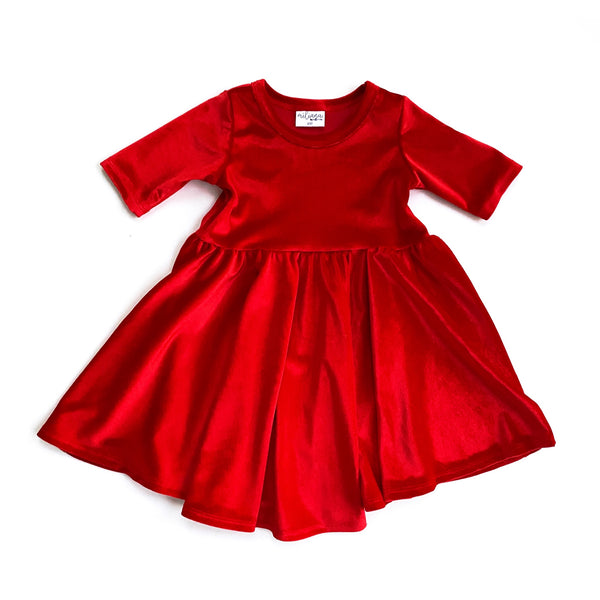 Ruby Red Stretch Velvet Mid Sleeve Twirl Dress