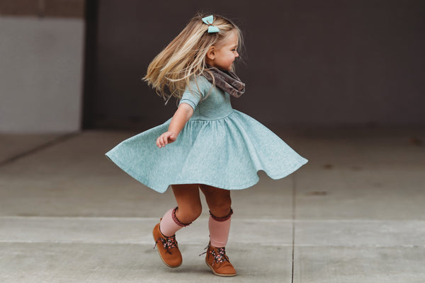 Heathered Teal Mid Sleeve Twirl Dress