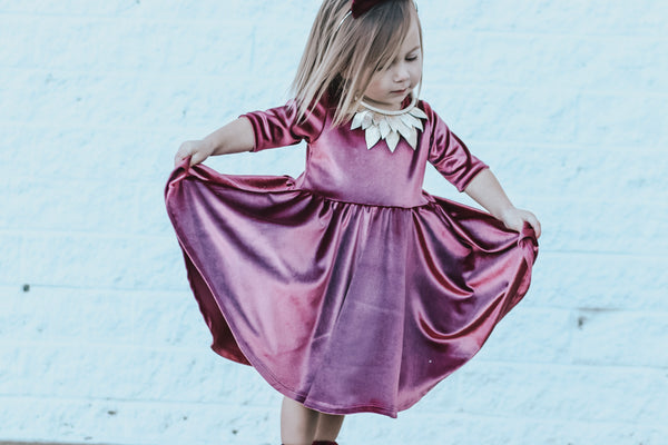 Rose Quartz (Mauve)  Stretch Velvet Mid Sleeve Twirl Dress