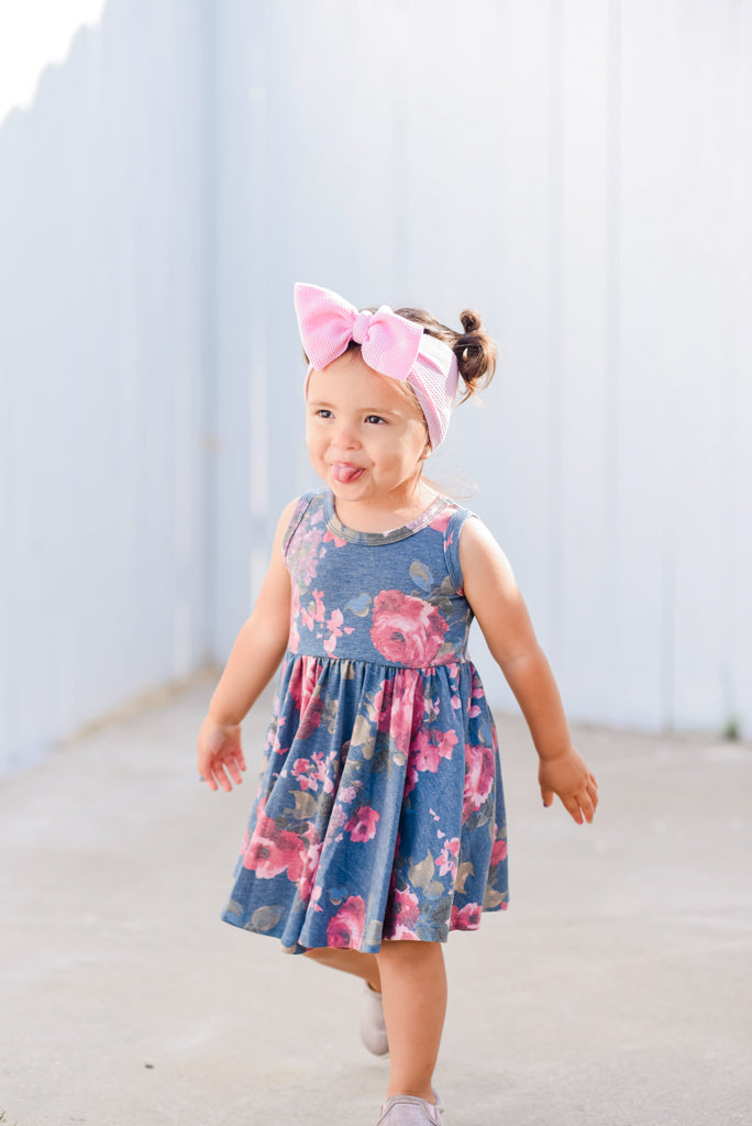 Tank- Denim Floral Twirl Dress
